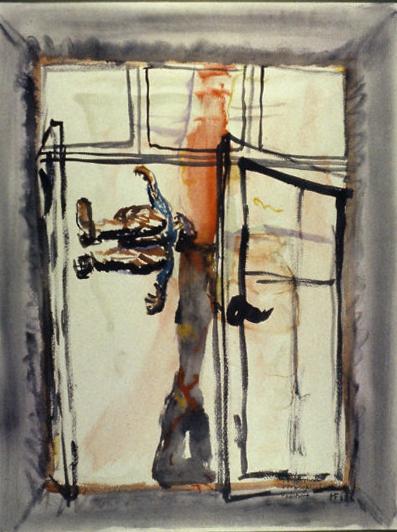 Fenster, senkrechte Landschaft, vorbeifallender Mensch