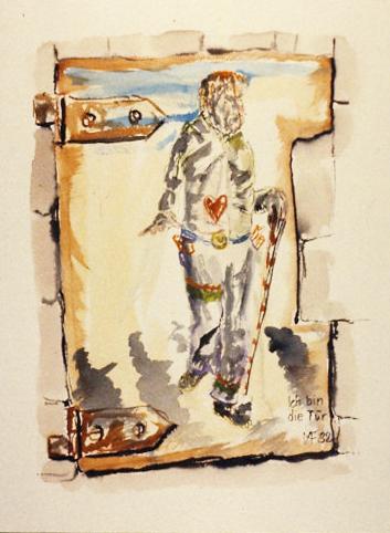 auf eine alte Tür gemalt: Selbstbildnis mit Blindenstock