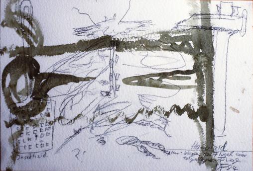 Bleistiftzeichnung mit schwarzer Übermalung