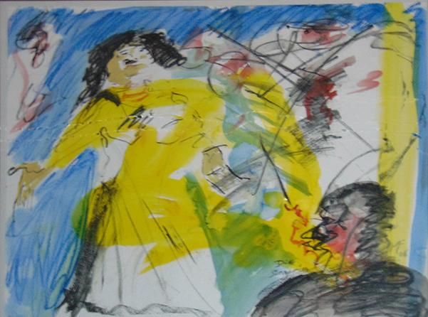 singende Frau mit Zuschauer in Gelb, Blau mit rot Tupfern und partiell Schwarz
