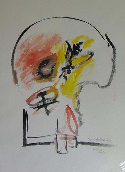 Calvarium von vorne mit Fliege, rot und gelb mit schwarzen Umrandungen