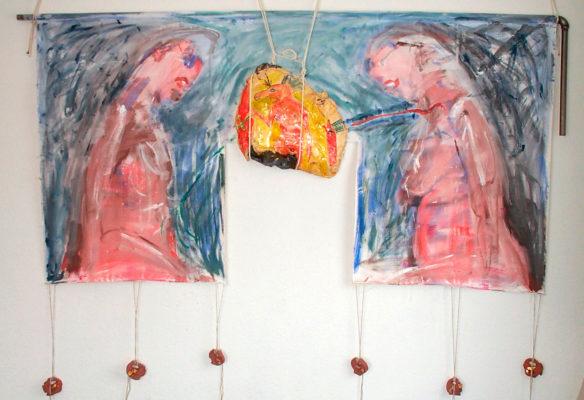 Couple avec déesse de l'amour à tête de cheval » - Acier, glaise, plâtre, peinture, 2003
