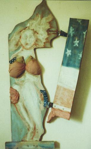 Miss Amérique, bois, tissu, peinture acrylique, 1982