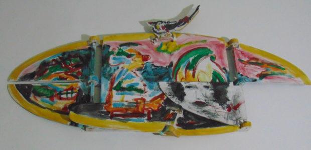 Tableau à rabats avec oiseau, 30x90 cm, 1993, propriété privée