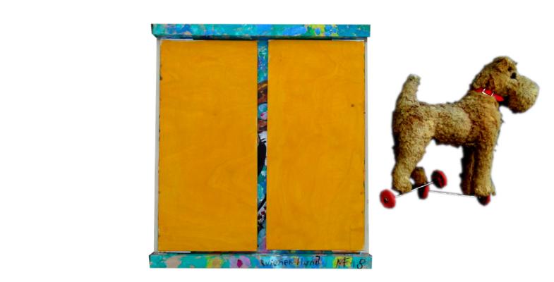 «Chien viennois» - Tableau à rabats avec objet, 40x45 cm (fermé), 2018