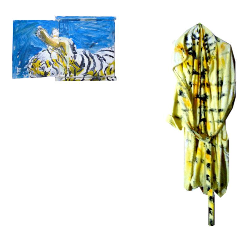 «Un ami», tableau 'a rabats (40-100x45 cm) et peignoir bariolé, 2018