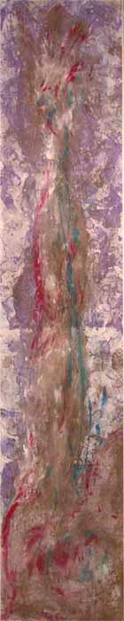 Le bras de mon deuxième moi », peinture acrylique sur jute, peint avec les pieds, 366x72cm, 2007