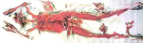 Peinture d'après l'empreinte physique de l'ancêtre d'art », longueur de 30 cm, 2004