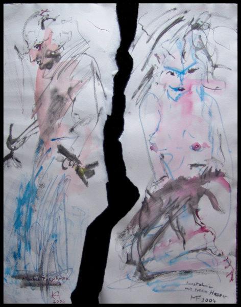 Tableau déchiré Manfred Forschner faisant de la peinture et ancêtre d'art avec lièvre mort, 48×64 cm, 2005