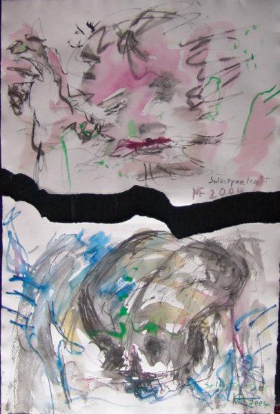 Tableau déchirée – Autoportrait, MF 2004 et autoportrait, KA 2004, 48x64 cm