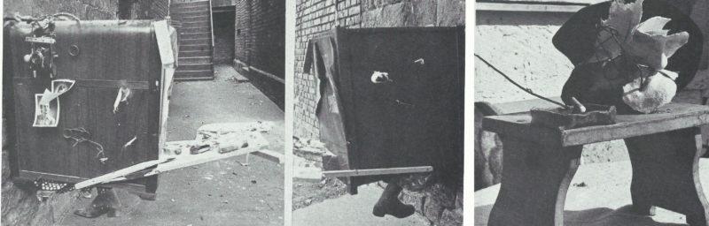 Artiste au placard de musique » - cigarette éteinte, objets (disparu), 1976