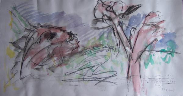 Le Réveil de l'ancêtre d'art dans les montagnes septentrionales d'Allemagne », 25x55 cm, 2005