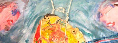 Couple avec déesse de l'amour à tête de cheval » - Acier, glaise, plâtre, peinture (détail), 2003