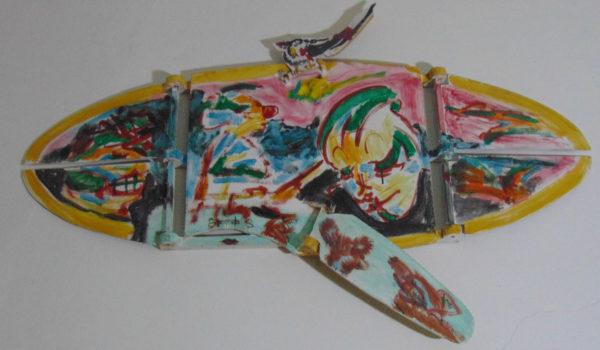 Tableau à rabats avec oiseau (deuxième pose), 30x90 cm, 1993, propriété privée