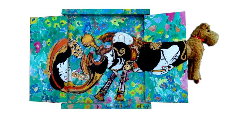 «Chien viennois» - Tableau à rabats avec objet, 40x45 cm (ouvert), 2018