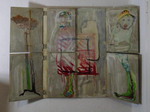 Aveu, bois, aluminium, revêtements, peinture acrylique, 55x80 cm, 1981
