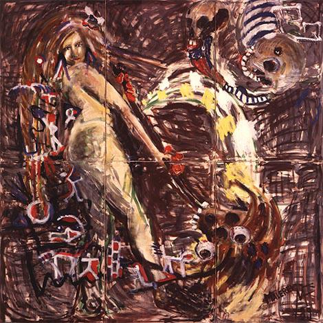 Peinture ou Judith peint avec la tête de Holofernes », 300x300 cm, 1989