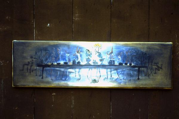 Tablée mondaine » (Pré-étude), 100x30 cm, 1985, propriété privée