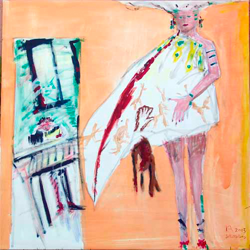 Ancêtre d'art avec lièvre mort » - Peinture de « l'ancêtre d'art », 100x100 cm, signé KA – 2003 – Autoportrait
