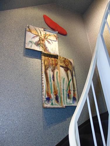 Du philosophe au cerf en deux pas avec reste sanglant, 180x42 cm, 1989, propriété privée