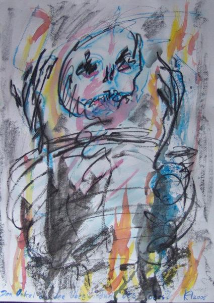 L'oncle dans son triomphe sur la mort », 48x64cm, signé KA, 2005