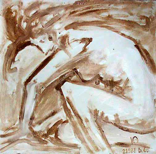 Manipuler » - Peint sur toile avec terre et terre cuite, 65x65 cm, signé KA
