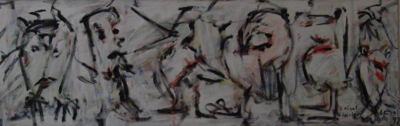 Cinq oiseaux, cinq visages », 200x50 cm, 1992