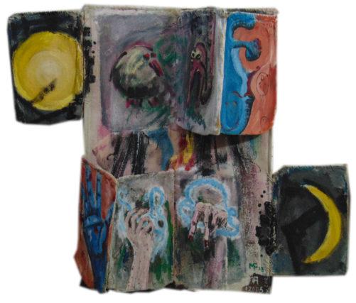 Trois grâces, hauteur 100 cm, fer, jute, peinture acrylique, signé MF 13 KA12005 av. J.-C.