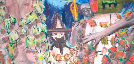 Druides de feu avec robes en glaise » (Détail), 220x200 cm, 2004