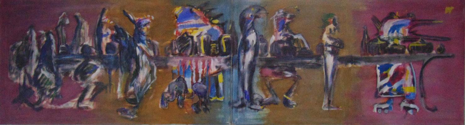 Tablée mondaine – le deuxième moloch », 300x80 cm, 1989