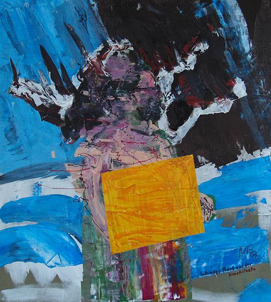 Cheval chutant sur le boulevard d'art, 90x100 cm, 2018