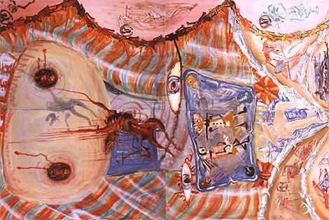 Le visage du cheval dapocalyptique – fresque de plafond – en 4 parties - 240x360cm, 1987