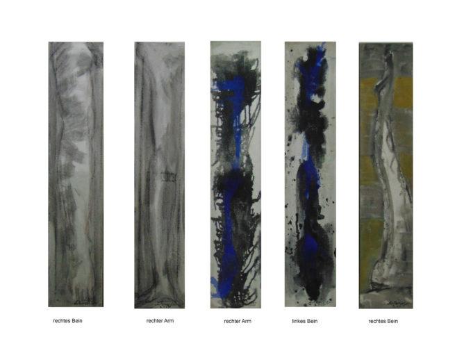 Images de bras et de jambes, resp. 30x150cm, signés Artancestor, 2007