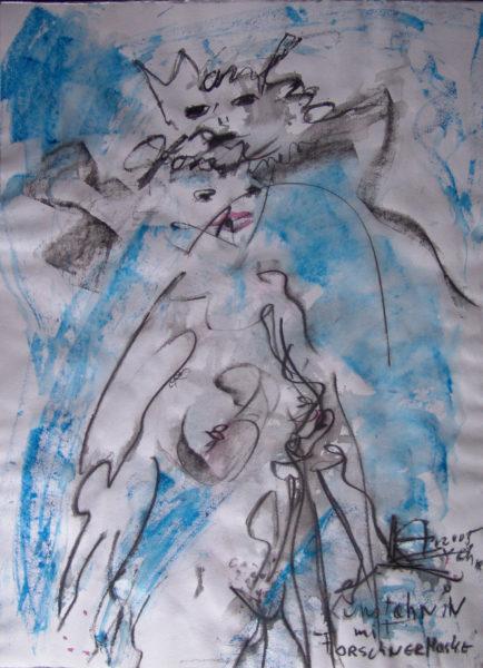 Ancêtre d'art avec masque Forschner », signé KA av.J.C., 48x64 cm, 2005