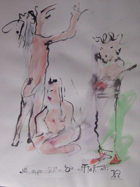 Et Otto aboya après les dieux », signé KA, 48x64 cm, 2005