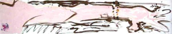 Je saisis le néant entre mes doigts », (titré verso), 253x51cm, signé : Artancestor 12007