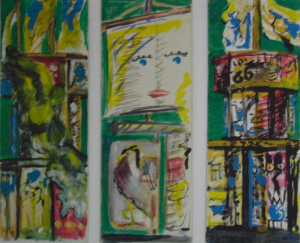 Trois tableaux sur la tour variable », 30x100 cm, 2000