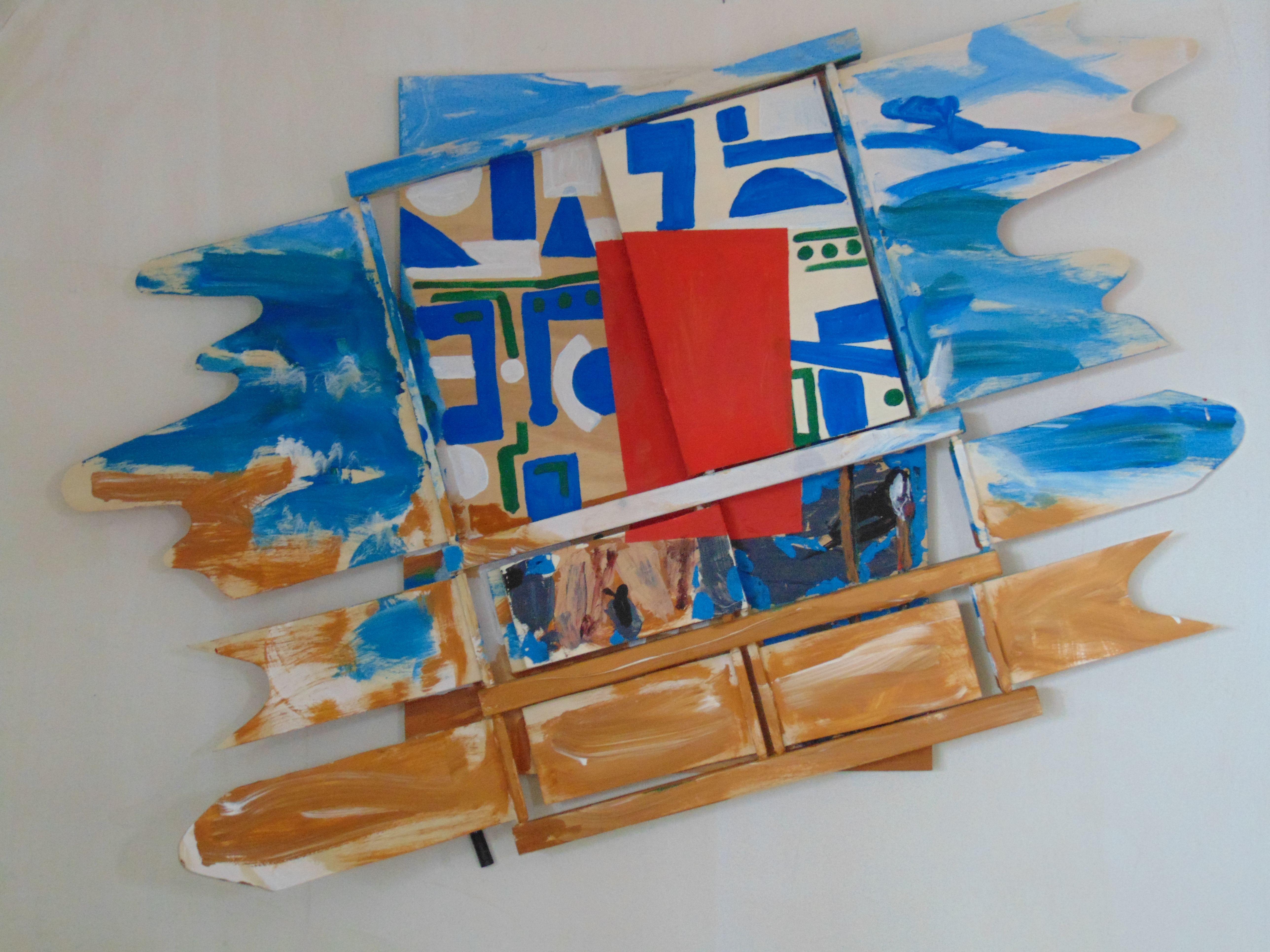 Oben Blau-weiß, unten braun, mittig rote monochrome Fläche
