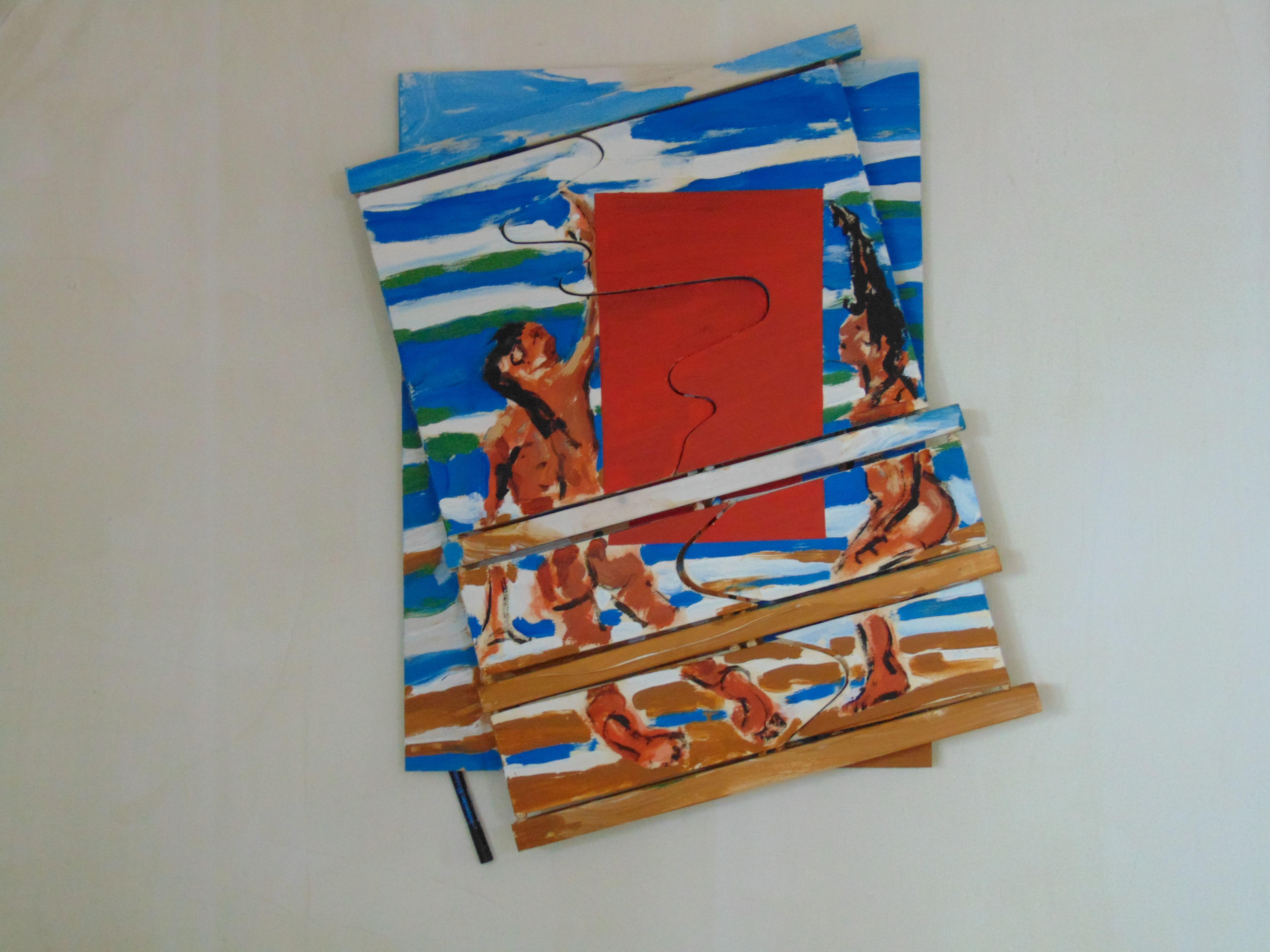 Ein nacktes Paar vor blau-weiß-braunem Hintergrund, mittig eine rote Fläche