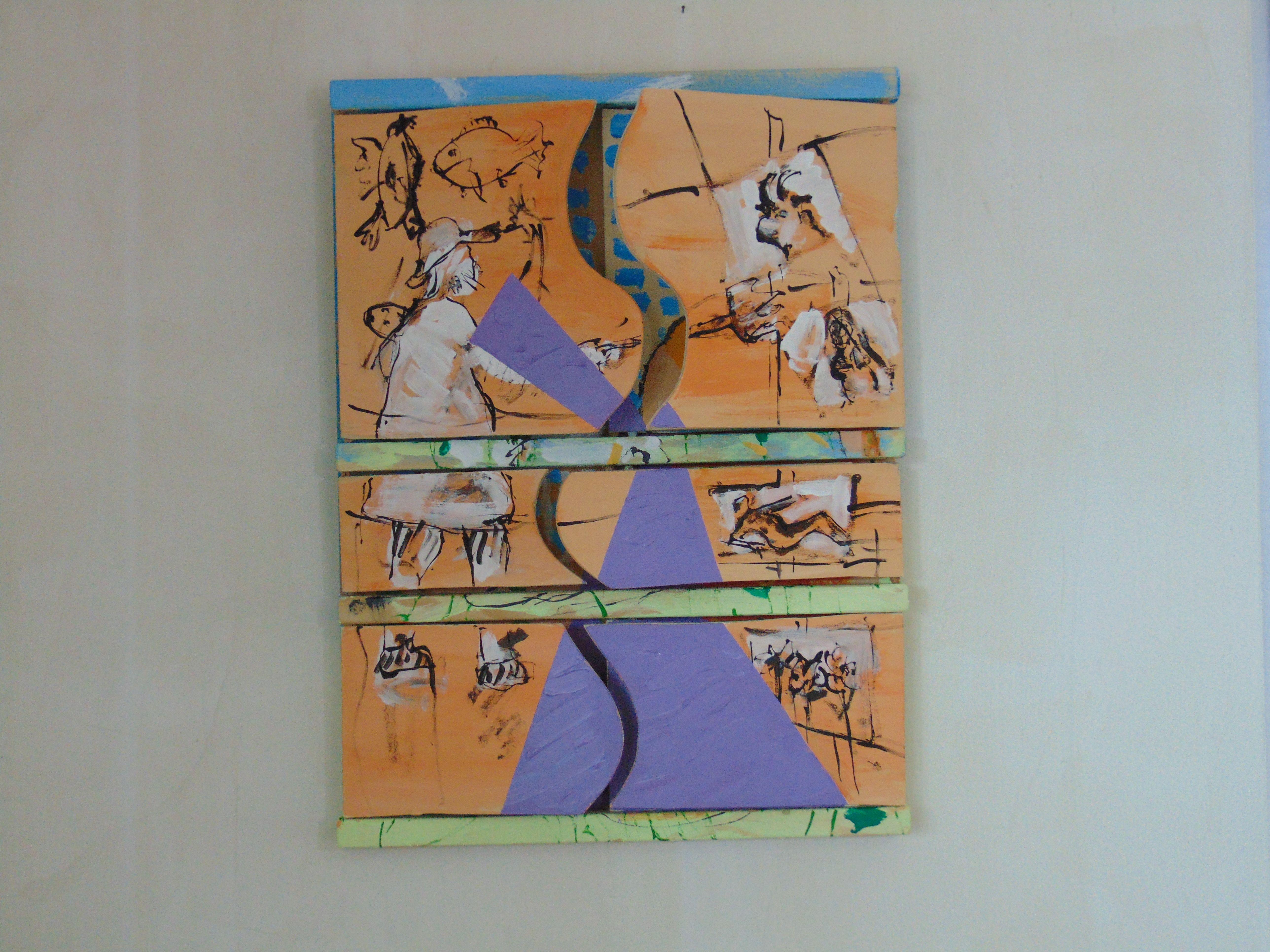 Maler, Werke und lila monochrome Fläche