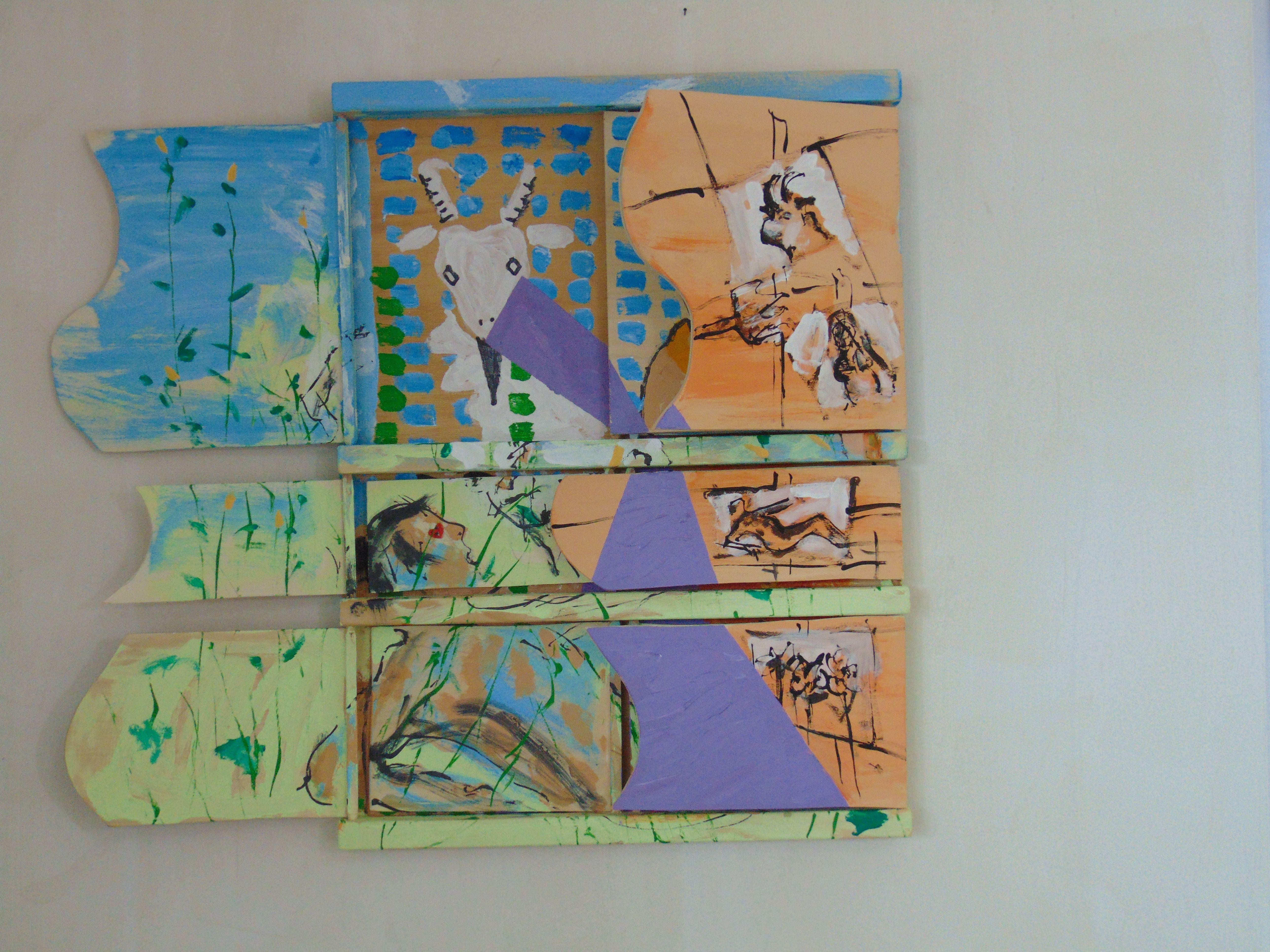 Junger Mann, Ziege, skizzierte Bilder