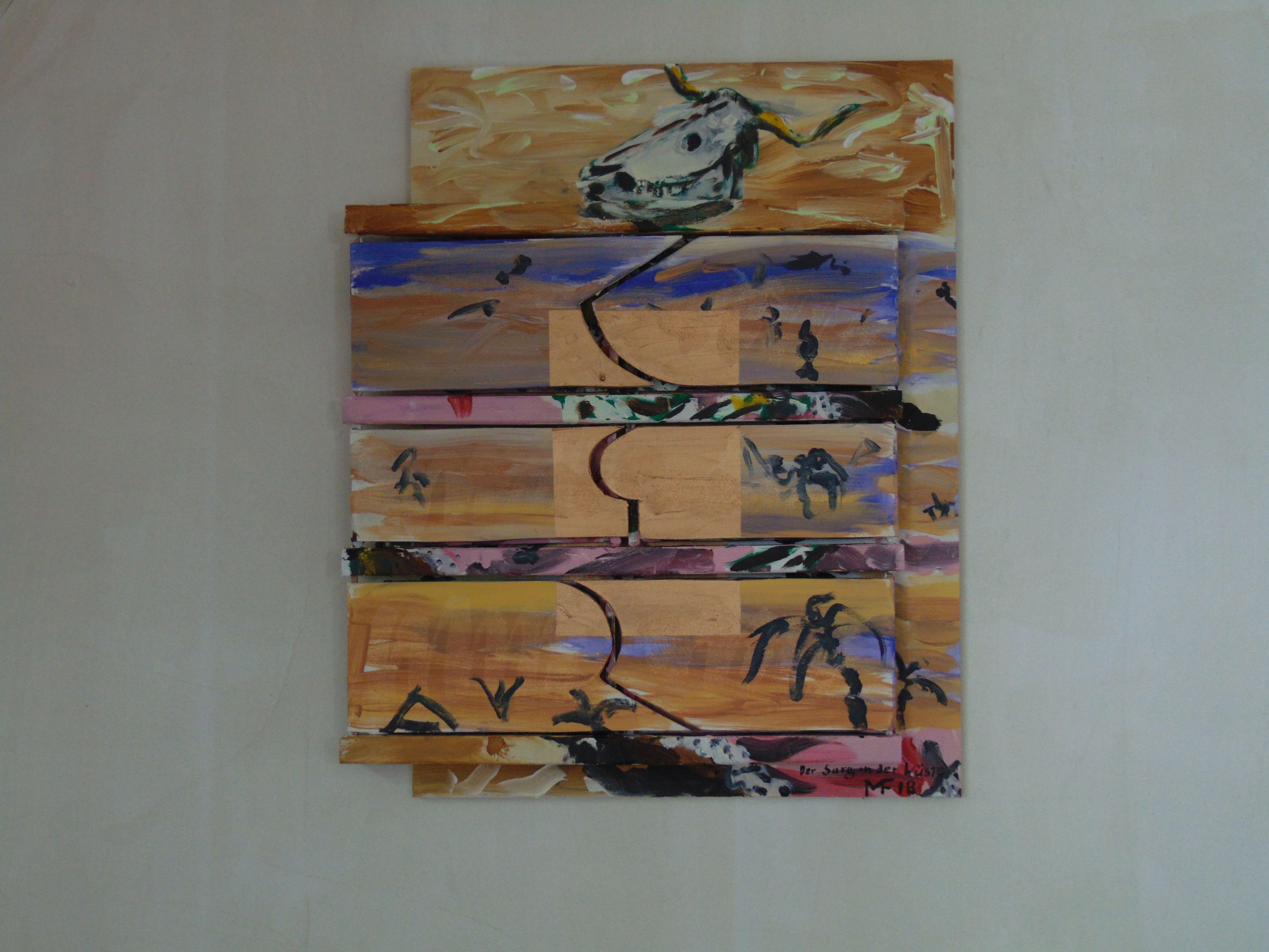 Kuhschädel, Kamel, Palmen, Wüste